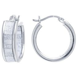 Starfish Boxed Silver Tone Glitter Hoop Earrings