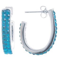 Starfish Box Aqua Blue Rhinestone Hoop Earrings