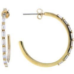 Starfish Box 25mm Cubic Zirconia Gold Tone Hoop Earrings