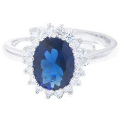 Silver Tone & Blue Oval Halo Fashion Ring