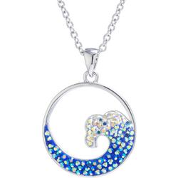 Pave Wave Pendant Necklace