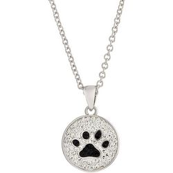 Florida Friends Crystal Pave Paw Print Pendant Necklace