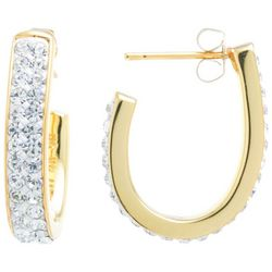 Starfish Box Gold Tone Rhinestone Hoop Earrings