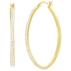 Guiliana Gold Tone Crystal Elements Thin Hoop Earrings
