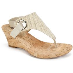 White Mountain Womens Single Ring Wedge Sandals