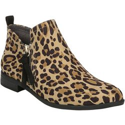 Dr. Scholl's Womens Rate Zip Leopard Ankle Boots