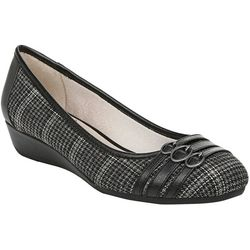 LifeStride Womens Fawn Plaid Wedge Shoes