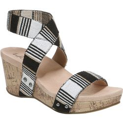 LifeStride Womens Del Mar Striped Wedge Sandals