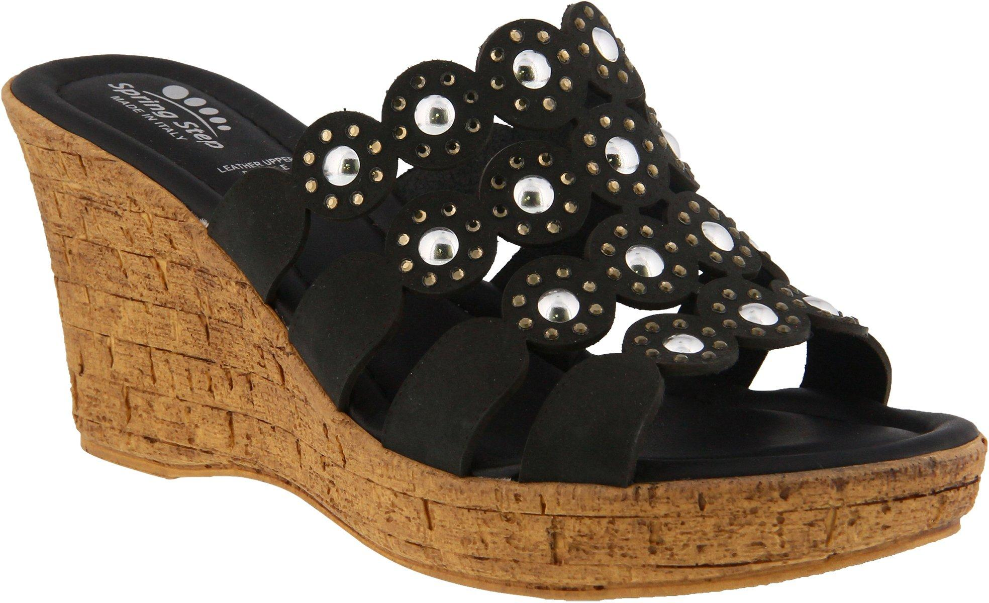 Womens Spring Step Chaya Slide Sandal Color Cobalt Blue 39 Womens Star-Shaped Laser-Cut Leather Peep-Toe Sandal