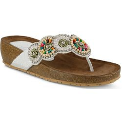 Spring Step Womens Azura Urla Beaded Thong Sandals