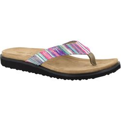 Easy Street Womens Stevie Striped Thong Sandals