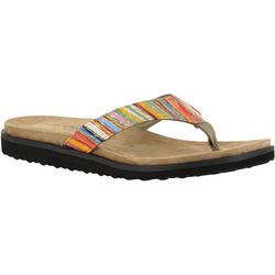 Easy Street Womens Stevie Striped Thong Sandals
