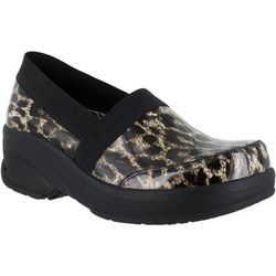 Easy Street Works Womens Attend Leopard Slip On Work Shoes