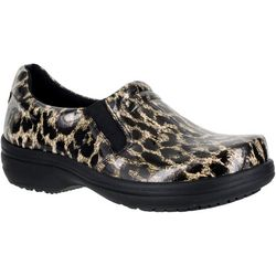 Easy Street Works Womens Bind Leopard Slip On Work Shoes
