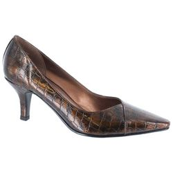 Easy Street Womens Chiffon Croco Pumps