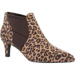 Easy Street Womens Saint Leopard Ankle Booties