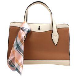 London Fog Lucy Tri Tone Satchel Handbag
