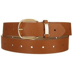 Madden Girl Womens Solid Cognac Brown Faux Leather Belt