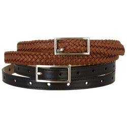 Fashion Focus Womens 2-pc. Braided & Perforated Belt Set