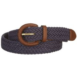 Fashion Focus Womens Brown & Navy Blue Braided Belt