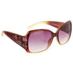 Womens Ombre Floral Rhinestone Sunglasses