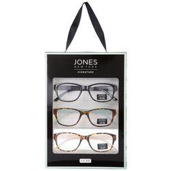 Jones New York Womens 3-Pc. Solid Tortoise Reading Glasses