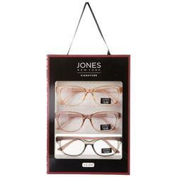 Jones New York Womens 3 Pc. Crystal Rose Reading Glasses Set