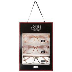 Womens 3 Pc. Crystal Rose Reading Glasses Set