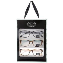 Womens 3-Pc. Solid Tortoise Reading Glasses
