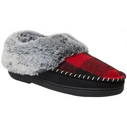 Dearfoams Womens Plaid Clog Slippers