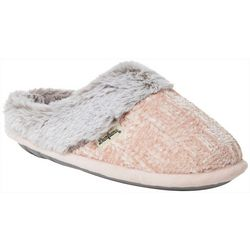 Dearfoams Womens Chenille Plush Cuff Clog Slippers