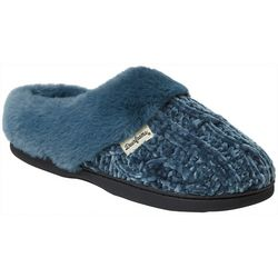 Dearfoams Womens Marled Cable Knit Chenille Clog Slippers