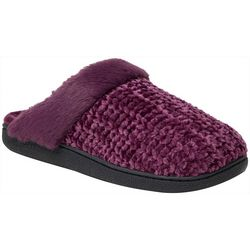 Dearfoams Womens Chenille Knit Scuff Slippers