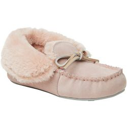 Dearfoams Womens Suede Fold-Over Moccasin Slippers