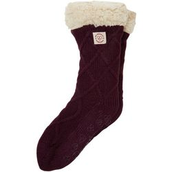 Dearfoams Womens Cable Knit Blizzard Slipper Socks