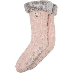 Dearfoams Womens Chenille Knit Blizzard Slipper Socks