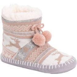 Muk Luks Womens Ebony Fairisle Bootie Slippers