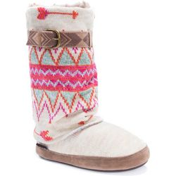 Muk Luks Womens Sofia Winter Print Boot Slippers