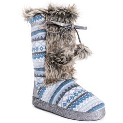 Muk Luks Womens Light Blue Jewel Slippers