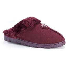 Womens Suede Faux Fur Clog Slippers