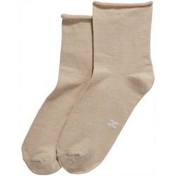 Hue Womens Solid Rolled Shortie Socks