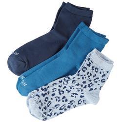 Womens 3-pk. Leopard Mix Quarter Socks