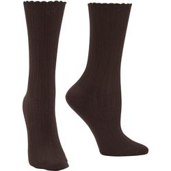Hue Womens Scalloped Crew Socks