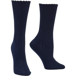 Womens Scalloped Crew Socks