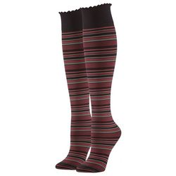 Hue Womens Graduated Compression Striped Knee Hi Socks