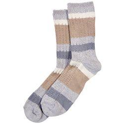 Hue Womens Stripe Ribbed Boot Socks