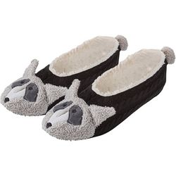 Hue Womens Raccoon Pompom Footsie Slippers