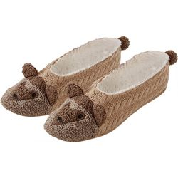 Hue Womens Hedgehog Pompom Footsie Slippers