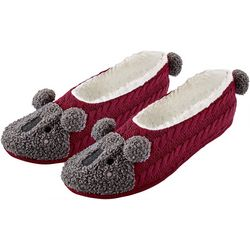 Hue Womens Koala Bear Pompom Footsie Slippers