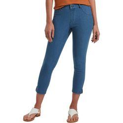 Womens Essential Stretch Ankle Slit Denim Jegging Capri